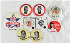 Collection of Pinback Buttons w/Roger Maris Ted Williams & Hank Aaron