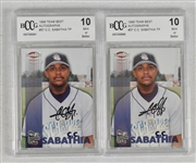 CC Sabathia Lot of 2 Autographed 1999 Team Best Cards BCCG 10