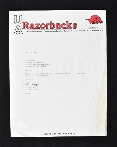 Lou Holtz 1983 Arkansas Razorbacks Signed Letter to Sid Hartman