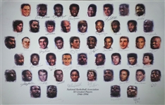 NBA 50 Greatest Players Litho Signed by 37 Hall of Famers