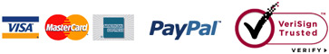 Visa, MasterCard, American Express, PayPal, VeriSign Trusted